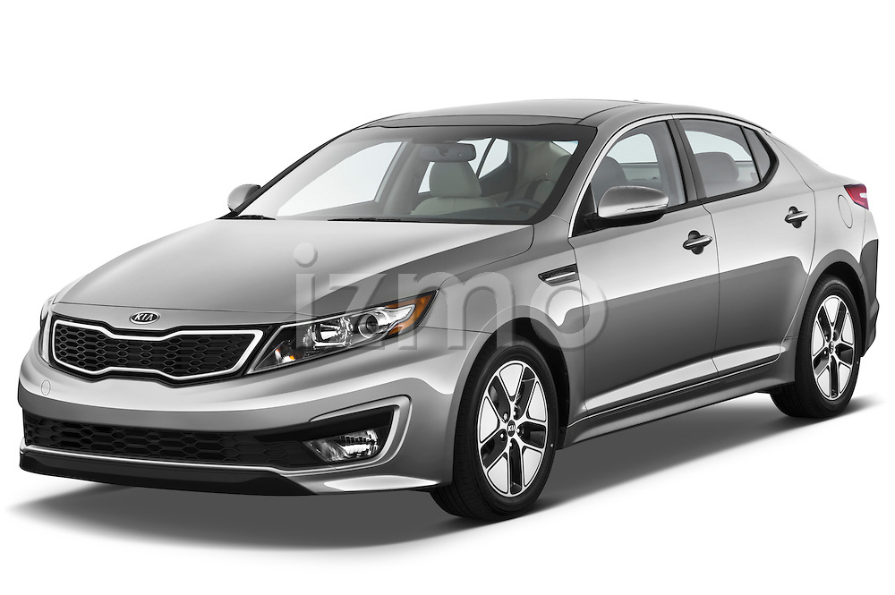 Front three quarter view of a 2011 Kia Optima Hybrid .