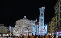 Italy, Florence  night view of Santa Maria del Fiore.
