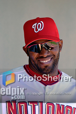 8 March 2006: Marlon Anderson, infielder for the Washington Nationals, smiles in the dugout during a Spring Training game against the St. Louis Cardinals. The Cardinals defeated the Nationals 7-4 in 10 innings at Space Coast Stadium, in Viera, Florida...Mandatory Photo Credit: Ed Wolfstein.