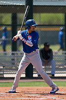 Chicago Cubs third baseman Christopher Morel (16) at bat during an Extended Spring Training game against the Colorado Rockies at Sloan Park on April 17, 2018 in Mesa, Arizona. (Zachary Lucy/Four Seam Images)