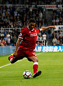 1st October 2017, St James Park, Newcastle upon Tyne, England; EPL Premier League football, Newcastle United versus Liverpool; Joe Gomez of Liverpool crosses the ball in the 1-1 draw