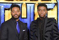 """Ryan Coogler and Chadwick Boseman<br /> arriving for the """"Black Panther"""" premiere at the Hammersmith Apollo, London<br /> <br /> <br /> ©Ash Knotek  D3376  08/02/2018"""