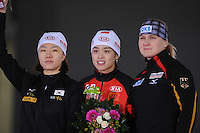SCHAATSEN: BERLIJN: Sportforum, Essent ISU World Cup Speed Skating | The Final, 09-03-2012, Podium 500m Ladies, Sang-Hwa Lee (KOR), Jing Yu (CHN), Jenny Wolf (GER), ©foto Martin de Jong