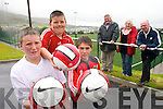 ON THE BALL: Cahercivven soccer fans Denis Daly, Mark Quigley and Conor O'Shea preparing for the South Kerry Sports Centre Tournament at the all weather facility in the town. At the back are South Kerry Sports Centre officials Christy O'Connell, Bridget O'Shea and Junior Murphy..