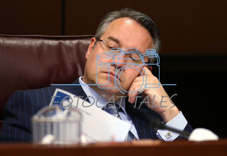 Nevada Sen. Mark Lipparelli, R-Las Vegas, works in committee at the Legislative Building in Carson City, Nev., on Wednesday, May 6, 2015.<br /> Photo by Cathleen Allison
