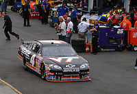 Apr 20, 2007; Avondale, AZ, USA; Nascar Nextel Cup Series driver Ward Burton (4) during practice for the Subway Fresh Fit 500 at Phoenix International Raceway. Burton has a Virginia Tech logo on the hood of his car in memory of those killed in the campus shootings this week. Mandatory Credit: Mark J. Rebilas