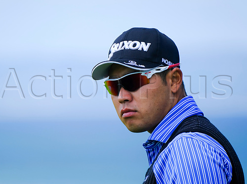July 8th 2017, Portstewart Golf Club, Portstewart, Northern Ireland; Dubai Duty Free Irish Open Golf Championship, Day 3; Hideki Matsuyama (JPN) on the 1st tee as he slipped down the leaderboard during the third round of the Dubai Duty Free Irish Open