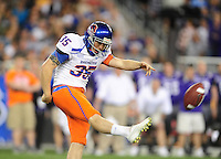 Jan. 4, 2010; Glendale, AZ, USA; Boise State Broncos punter (35) Kyle Brotzman against the TCU Horned Frogs in the 2010 Fiesta Bowl at University of Phoenix Stadium. Boise State defeated TCU 17-10. Mandatory Credit: Mark J. Rebilas-