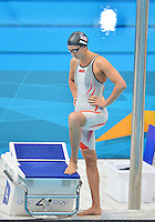 July 29, 2012..Rebecca Soni of the USA set to compete in women's 100m Breaststroke semifinal at the Aquatics Center on day two of 2012 Olympic Games in London, United Kingdom.