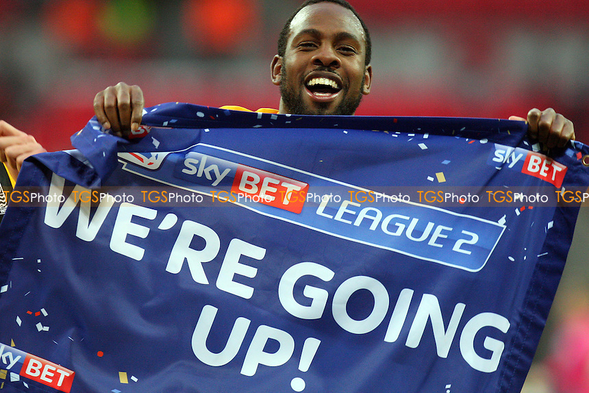 Myles Weston of Southend United celebrates winning the play off - Southend United vs Wycombe Wanderers - Sky Bet League Two Play Off final action at the Wembley Stadium on 23/05/15 - MANDATORY CREDIT: Dave Simpson/TGSPHOTO - Self billing applies where appropriate - 0845 094 6026 - contact@tgsphoto.co.uk - NO UNPAID USE
