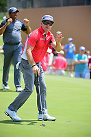 Brian Gay (USA) reacts to sinking his putt on 18 during round 2 of the Valero Texas Open, AT&amp;T Oaks Course, TPC San Antonio, San Antonio, Texas, USA. 4/21/2017.<br /> Picture: Golffile | Ken Murray<br /> <br /> <br /> All photo usage must carry mandatory copyright credit (&copy; Golffile | Ken Murray)