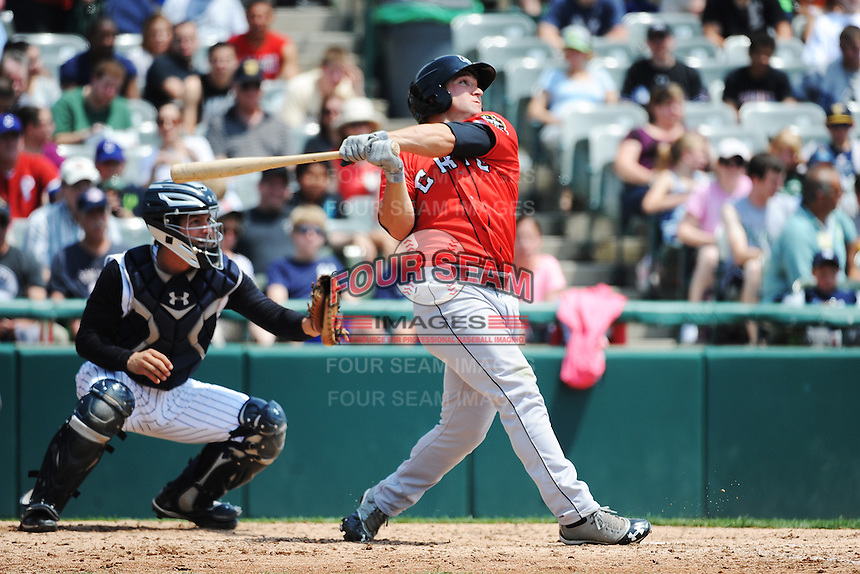 Erie SeaWolves outfielder Tyler Collins (17) during game against the Trenton Thunder at ARM & HAMMER Park on May 29 2013 in Trenton, NJ.  Trenton defeated Erie 3-1.  Tomasso DeRosa/Four Seam Images
