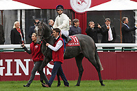 October 07, 2018, Longchamp, FRANCE - Neufbosc with Cristian Demura up at the parade for the Qatar Prix de l'Arc de Triomphe (Gr. I) at  ParisLongchamp Race Course  [Copyright (c) Sandra Scherning/Eclipse Sportswire)]