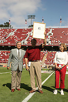 14 October 2006: Jeff Siemon receives his plaque for his College Football Hall of Fame induction during Stanford's 20-7 loss to Arizona during Homecoming at Stanford Stadium in Stanford, CA.