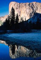 El Capitan and reflection on Merced River on winter sunrise, Yosemite National Park, California