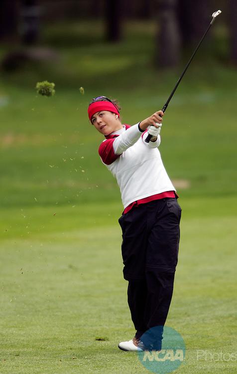 20 MAY 2005:  Dewi Schreefel of USC hits an approach shot during the Division I Women's Golf Championship held at the Sunriver Resort in Sunriver, OR.  Schreefel tied for 10th place with a +8 score.  Jamie Schwaberow/NCAA Photos