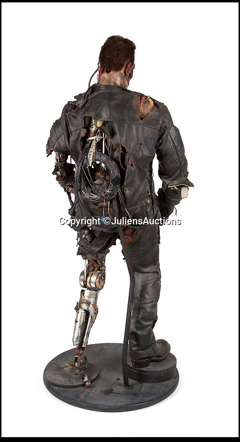 BNPS.co.uk (01202 558833)Pic: JuliensAuctions/BNPS<br /> <br /> Your for $30,000 life-size Arnie from Terminator 3.<br /> <br /> Forget Old Masters and fine porcelain...modern collectors looking for the final 'statement piece' for their home are now turning their attention to 'screen used' movie momoribillia.<br /> <br /> The unusual collection includes a life sized Arnie from the Terminator, Danny Devito's Penguin from the Batman movie and even a 5ft 7in tall dilophosaurus from Jurassic Park that would make a terrifying conversation piece for any film fan's home.<br /> <br /> The items are expected to fetch at least £21,300 ($30,000) each and are part of the growing trend for collectors spending tens of thousands on Hollywood memorabilia from iconic films instead of art.<br /> <br /> The lots for sale all come from the Osianama Archives - a renowned collection of world cinema amassed by Osian's, India's pioneering arts and cultural institution and auction house which are being sold by Julien's Auctions in Los Angeles on March 8.