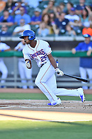 Tennessee Smokies center fielder Trey Martin (25) swings at a pitch during a game against the Pensacola Blue Wahoos at Smokies Stadium on August 5, 2017 in Kodak, Tennessee. The Smokies defeated the Blue Wahoos 6-2. (Tony Farlow/Four Seam Images)