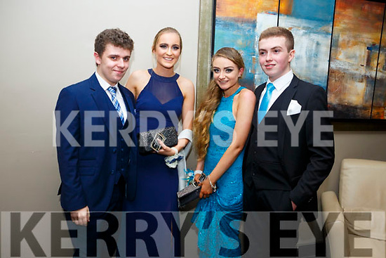 Enjoying the Castleisland Debs at Ballyroe Hotel on Friday were  Neil Shanahan, Katie Cooke, Patricia O'Rahilly and Adam Langford