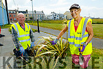 Seamus O'Doherty and Jackie Pearce, two hardworking volunteers of the Ballybunion Tidy Towns doing a clean up near the playgrounf on Monday.