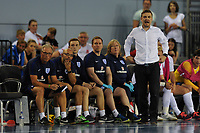 England Futsal manager Michael Skubala (far right) watches on with the England coaching staff during England vs Poland, International Futsal Friendly at St George's Park on 2nd June 2018