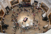 Photo taken from the Dome of the United States Capitol of the Lying in State honoring the late US Senator John McCain (Republican of Arizona) in the US Capitol Rotunda in Washington, DC on Friday, August 31, 2018.<br /> Credit: Ron Sachs / CNP<br /> <br /> (RESTRICTION: NO New York or New Jersey Newspapers or newspapers within a 75 mile radius of New York City)