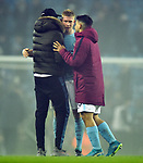Kevin De Bruyne of Manchester City and Sergio Aguero of Manchester City celebrate at the end of the premier league match at the Etihad Stadium, Manchester. Picture date 16th December 2017. Picture credit should read: Robin ParkerSportimage