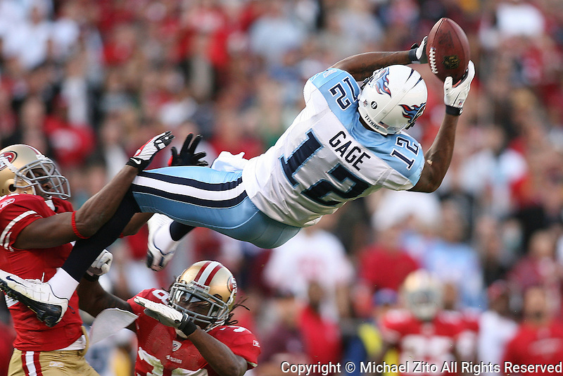 11/08/09 San Francisco, CA: WR Justin Gage #12 of the Tennessee Titans in action against the San Francisco 49ers in an NFL game played at Candelstick Park. The Titans defeated the 49ers 34-27