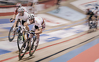 Madison World Champions Morgan Kneisky (FRA) &amp; Benjamin Thomas (FRA) speeding at the 'Kuipke' velodrome<br /> <br /> Ghent 6day<br /> Belgium 2017