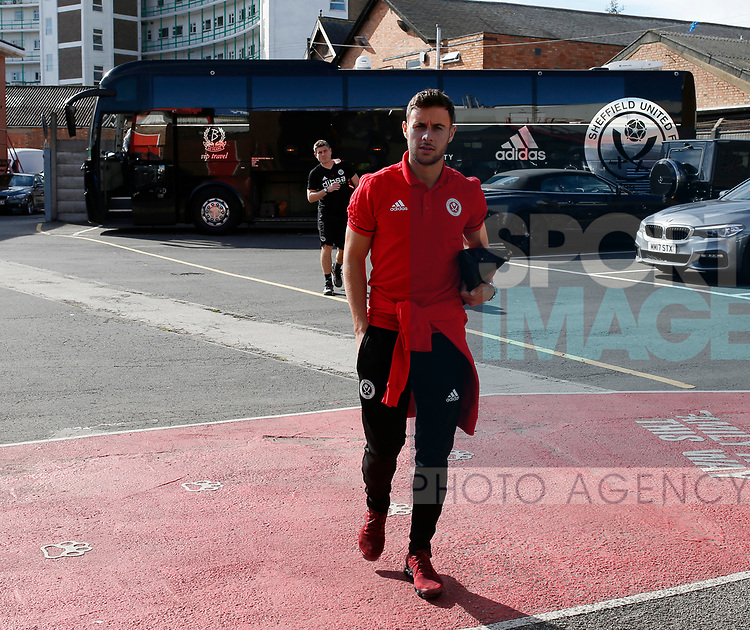 George Baldock of Sheffield Utd arrives during the Championship match at the City Ground Stadium, Nottingham. Picture date 30th September 2017. Picture credit should read: Simon Bellis/Sportimage