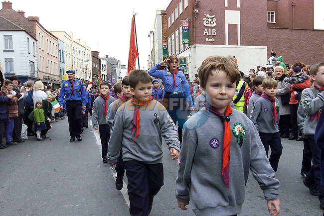 Scouts at the St. Patrick's Day Parade..Picture Fran Caffrey Newsfile
