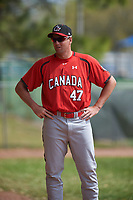 Canada Junior National Team pitching coach Scott Mathieson (47) during an exhibition game against the Toronto Blue Jays on March 8, 2020 at Baseball City in St. Petersburg, Florida.  (Mike Janes/Four Seam Images)