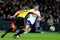 Erik Lamela of Tottenham Hotspur and Mickey Demetriou of Newport County during Tottenham Hotspur vs Newport County, Emirates FA Cup Football at Wembley Stadium on 7th February 2018