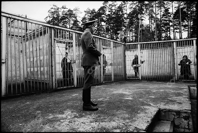 Yard privilege, in a female penal colony, for inmates kept in solitary confinment: half-hour a day in outdoor cages. Perm, Russia, 1990