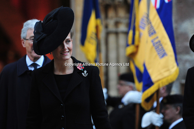 Pictured: Sophie, Countess of Wessex leaves Llandaff Cathedral, Cardiff, Wales, UK.  Sunday 11 November 2018<br /> Re: Commemoration for the 100 years since the end of the First World War on Remembrance Day at the Llandaff Cathedral, in Llandaff, Cardiff, Wales, UK.