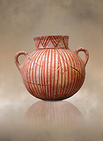 Very early Minoan round pot with white and red linear motifs,  vaulted tombs Lebena 3000-2100 BC BC, Heraklion Archaeological  Museum.<br /> <br /> Made of grey clay these pots are the earliest found in the Lebena vaulted tombs
