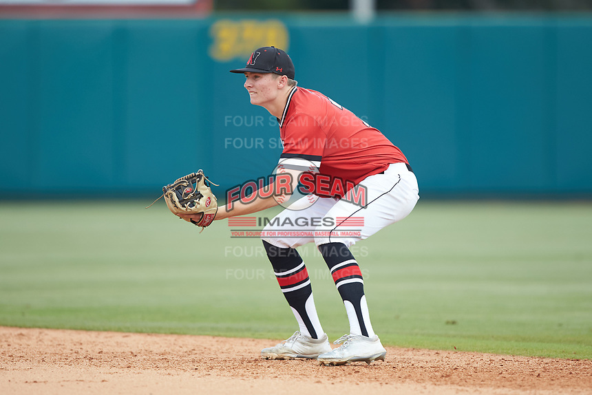 Northeastern Huskies second baseman Ian Fair (7) on defense against the North Carolina State Wolfpack at Doak Field at Dail Park on June 2, 2018 in Raleigh, North Carolina. The Wolfpack defeated the Huskies 9-2. (Brian Westerholt/Four Seam Images)