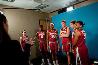 DENVER, CO--The Cardinal starting five receive filming instructions during media day at the Pepsi Center for the 2012 NCAA Women's Final Four in Denver, CO.