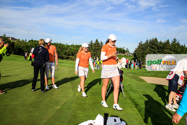 Bronte Law and Olivia Mehaffey on the 16th during the Saturday afternoon fourballs at the 2016 Curtis cup from Dun Laoghaire Golf Club, Ballyman Rd, Enniskerry, Co. Wicklow, Ireland. 11/06/2016.<br /> Picture Fran Caffrey / Golffile.ie<br /> <br /> All photo usage must carry mandatory copyright credit (&copy; Golffile | Fran Caffrey)