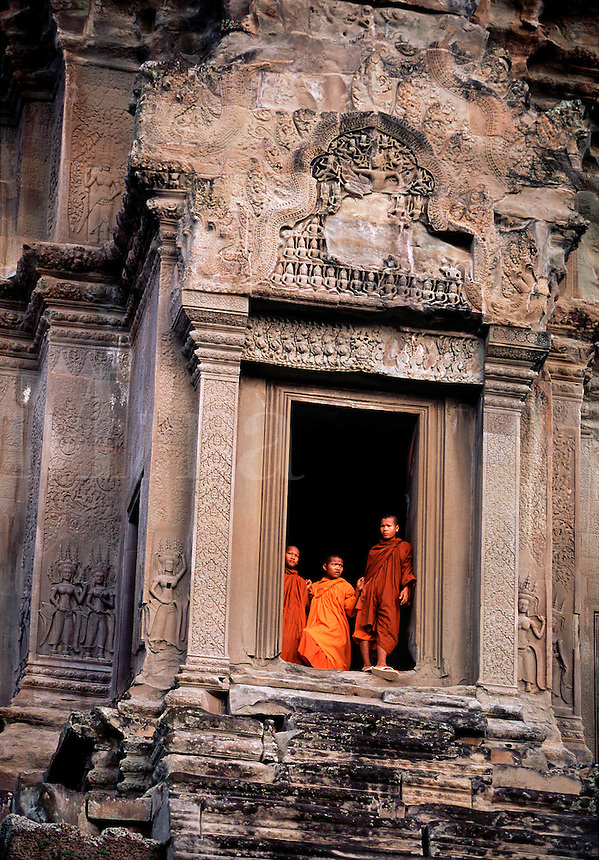 Buddhist monks at Angkor Wat Angkor Cambodia