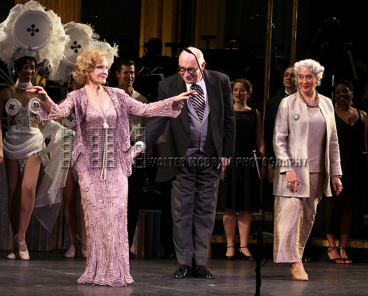 Deborah Rush, Simon Jones & Sandra Shipley.during the final performance Curtain Call for the New York City Center ENCORES! Production of 'Gentlemen Prefers Blondes' at City Center in New York City on 5/13/2012.