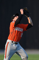 Aberdeen IronBirds shortstop Justin Viele (11) catches a pop up during a game against the Williamsport Crosscutters on August 4, 2014 at Bowman Field in Williamsport, Pennsylvania.  Aberdeen defeated Williamsport 6-3.  (Mike Janes/Four Seam Images)