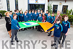 The Green Schools Committee, The Mental Health Awareness Promotions Committee pictured with Theresa Murphy (teacher), Fiona Griffin (teacher) and Liam Hassett (deputy principal) in St Michael's College on Friday with their Green Flag and Amber Flag.