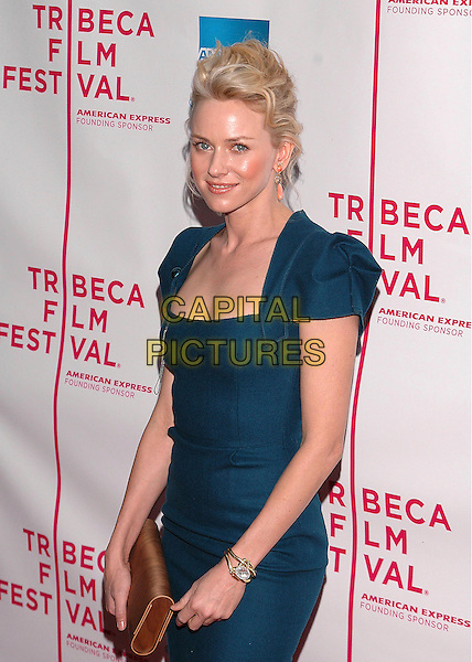 NAOMI WATTS.The premiere of  'The Interpreter', part of the Tribeca Film Festival in New York City, New York.April 19th, 2005.Photo Credit: Patti Oderkirk/AdMedia.half length blue dress peach drop earrings gold bracelet brown clutch purse bag.www.capitalpictures.com.sales@capitalpictures.com.© Capital Pictures.