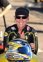 Nov 11, 2010; Pomona, CA, USA; NHRA pro stock motorcycle rider Karen Stoffer during qualifying for the Auto Club Finals at Auto Club Raceway at Pomona. Mandatory Credit: Mark J. Rebilas-