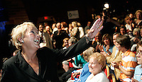 Quebec City, June 27 2007. Pauline Marois waves to the crowd as she is crowned as the new PQ leader during a rally at the Théatre du Capitol in Quebec City June 27, 2007.