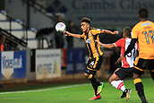 3rd October 2017, The Abbey Stadium, Cambridge, England; Football League Trophy Group stage, Cambridge United versus Southampton U21; Leon Davies of Cambridge United controls the high ball