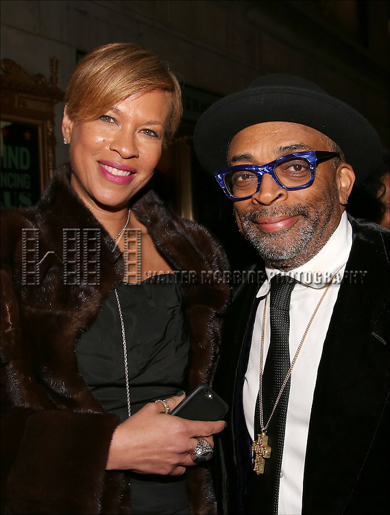 Tonya Lewis and Spike Lee attends the Broadway Opening Night Performance of 'Shuffle Along' at The Music Box Theatre on April 28, 2016 in New York City.