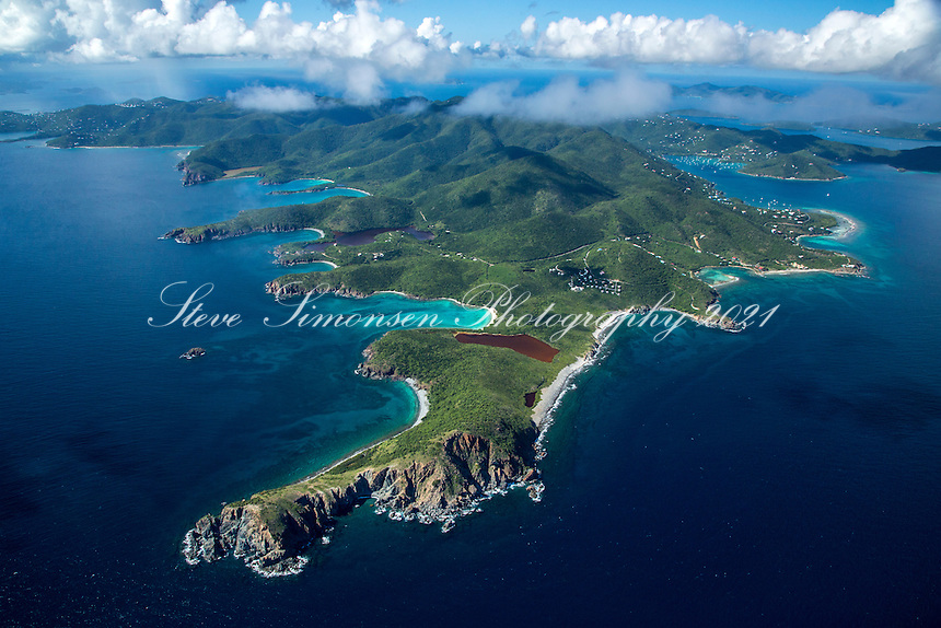 Aerial view of St. John showing the southeast<br /> shoreline with Rams Head<br /> U.S. Virgin Islands