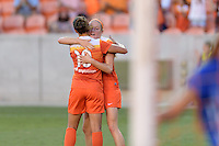 Houston, TX - Sunday Sept. 11, 2016: Carli Lloyd, Janine Beckie celebrates scoring during a regular season National Women's Soccer League (NWSL) match between the Houston Dash and the Boston Breakers at BBVA Compass Stadium.